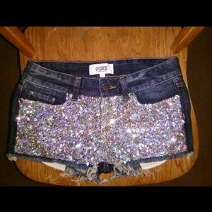 Victoria's secret Pink sequin denim shorts